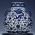 A magnificent and fine blue and white 'Dragon'<b>hu</b>-<b>shaped</b> <b>vase</b>, Qianlong six-character mark and of the period (1736-1795)