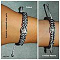 bracelet macramé perle gris