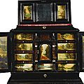 A flemish ebony veneered and tortoiseshell cabinet on stand, antwerp, late 17th century, the stand 19th century