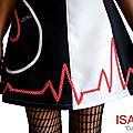 MOD 396C Robe Saint valentin Bicolore noir Blanc écru rouge à pois coeur made in France créateur mode 2016
