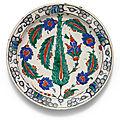 An Iznik polychrome pottery dish with cypress tree, Turkey, <b>circa</b> <b>1590</b>
