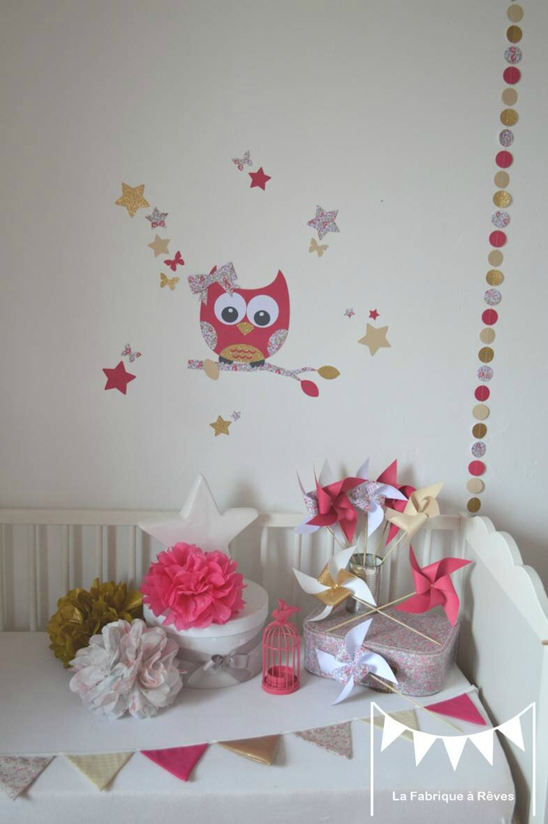D coration chambre enfant b b fille liberty loise rose for Stickers geant chambre fille