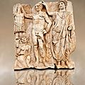 Sculpture of Roman Emperor being crowned with a barbarian captive. Aphrodisias <b>Archaeological</b> museum, Turkey