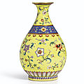 A Magnificent Yellow-Ground '<b>Yangcai</b>' Vase, Seal Mark and Period of Qianlong (1736-1795)