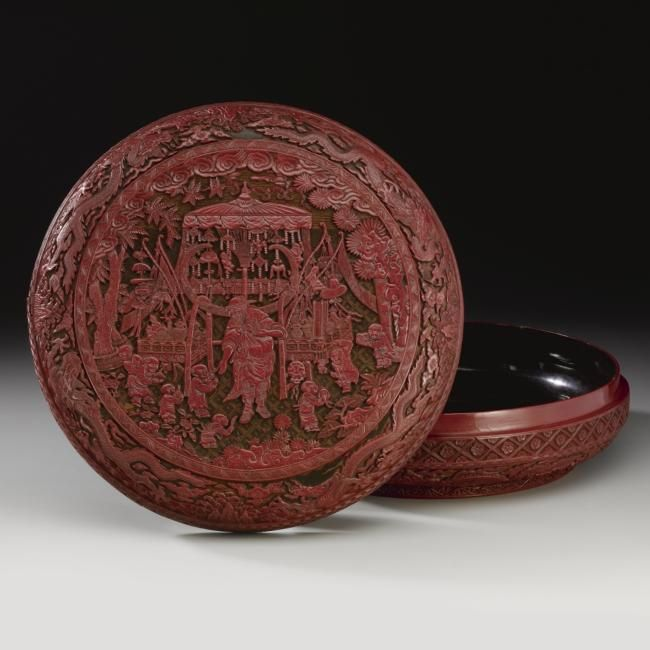 A Very Rare Carved Polychrome Lacquer Knick Knack Peddler Box And Cover Jiajing Mark And