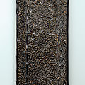 A carved black lacquer 'floral' rectangular scroll <b>tray</b>, Late Southern Song-Yuan dynasty, 13th-14th century