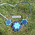 137 - Collier fleur bleue