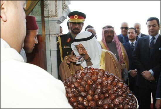 Prince Moulay Rachid and Amir of Kuwait Sheikh Sabah Al-Ahmad Al-Jaber Al-Sabah as he arrived in the Moroccan city of Marrakech for a two-day state visit December 13, 2006