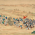 An imperial battle painting commemorating the campaign victories in the Northwestern region, 1862-1877, Qing dynasty, <b>Guangxu</b>