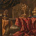 <b>Carlo</b> <b>Manieri</b> (Tarante -Rome vers 1662/1700), Instrument scientifique et bougie sur un entablement avec un tapis