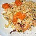 Tagliatelle aux <b>crevettes</b> et sa sauce piquante