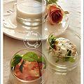 Velouté de chou fleur, tapioca, menthe, philadelphia, saumon