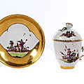 Covered Meissen cup and saucer, <b>1730</b>-<b>1735</b>