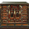 A flemish gilt-bronze and silvered metal-mounted ivory inlaid tortoiseshell ebony and ebonised cabinet, antwerp , circa 1650