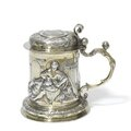 A 17th century Swiss silver <b>tankard</b>, stamped twice with maker's mark a cross(?) flanked by RW