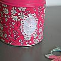 Une boîte à thé customisée en liberty capel fuchsia