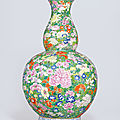 An extremely rare and massive famille rose mille fleurs <b>double</b>-<b>gourd</b> vase, Qianlong six-character seal mark and of the period