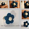 Bague bleue en laine cardée