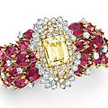 A diamond, <b>rubellite</b> <b>tourmaline</b> and yellow sapphire bracelet, by David Webb