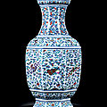 A Fine and Extremely Rare Imperial Doucai and Famille-Rose 'Anbaxian' Octagonal Vase, <b>Qianlong</b> Period, 1736-1795
