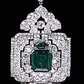 An impressive emerald <b>and</b> <b>diamond</b> <b>pendant</b>-<b>brooch</b>, by Cartier