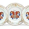 Three Chinese Export <b>Dutch</b> <b>market</b> armorial dishes, circa 1735