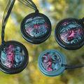 Pendentifs en hm bleu et rose