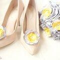 mariage rétro bijoux de chaussure fleur dentelle strass jaune gris cereza deco 4