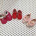 Lot de petites <b>chaussures</b> bébé <b>fille</b>...