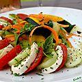 Tomate-mozzarella et son méli-mélo de légumes