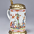 A Meissen silver-gilt-mounted tankard, circa 1730