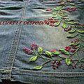 jupe jean's brodée détails vue de pied BIS