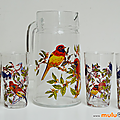 Vaisselle Vintage ... SERVICE <b>PICHET</b> et 6 VERRES décorés * Oiseaux