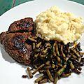 Purée de pommes de terre maison, steak de cheval et haricots verts