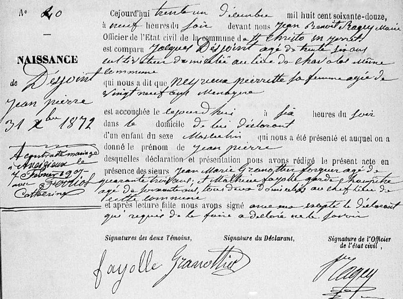 acte de naissance Jean Desjoint, 1872