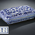 A fine <b>and</b> extremely rare <b>blue</b> <b>and</b> <b>white</b> pierced box <b>and</b> cover, Wanli six-character mark <b>and</b> of the period (1573-1620)