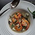 Crevettes au lait de coco et au roquefort
