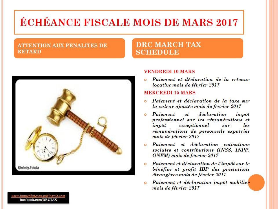 ECHEANCE FISCALE MOIS DE MARS 2017