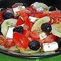 Feta marinée et salade grecque