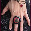 Bague noir / bronze et rose (B139)