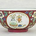 A famille rose ruby-ground 'Medallion' bowl , <b>Daoguang</b> <b>six</b>-<b>character</b> <b>seal</b> <b>mark</b> <b>in</b> <b>underglaze</b>-<b>blue</b> <b>and</b> <b>of</b> <b>the</b> period (1821-1850)