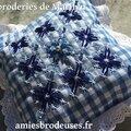 Coussinet bleu en broderie suisse