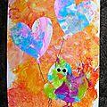 Coloriages: fleur et oiseau avec son ballon