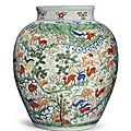 A large and important wucai '<b>hundred</b> deer' <b>vase</b>, Wanli mark and period (1573-1619)