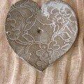 Coupelle trouée coeur dentelle