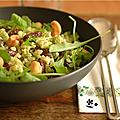 et si on faisait un lundi sans viande ? salade de riz, haricot rouge, roquette, noix de cajou & pesto assorti