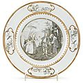 Chinese <b>grisaille</b> <b>and</b> <b>gilt</b>-painted export porcelain plate, 18th century