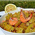 Pommes de terre et crevettes sautées à la plancha