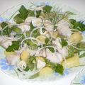 Effilochée de lieu en salade tiède, pommes de terre nouvelles et fèves