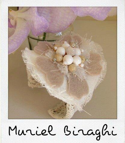 Bracelet Manchette Dentelle Fleur de Coton